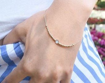 Gold Evil Eye Bracelet - Evil Eye Bracelet - 14k Gold Bracelet -   Available in 14k Gold, White Gold or Rose Gold