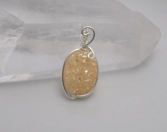Sterling Silver Champagne Druzy Oval Bead Wrapped in Sterling Silver Wire Pendant Charm Handmade Jewelry
