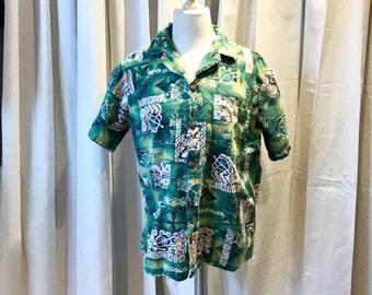 Vintage Hawaiian Barkcloth Button Up Men's Shirt, Short Sleeve Luau/Tiki Aloha Shirt Sz M