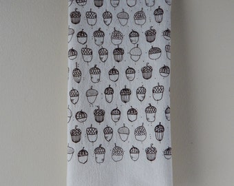 Kitchen Towel, Hand Printed, Acorns, Cotton