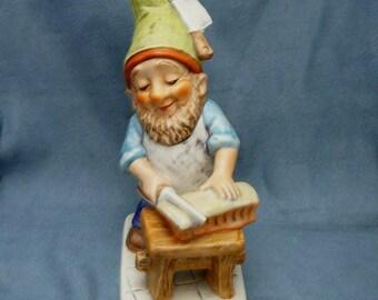 Rare Goebel Hermann the Butcher Gnome Dwarf Elf Co Boy Figure 548-18 German Porcelain Figurine