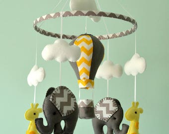 Baby Mobile - Elephant Giraffe Mobile - Hot Air Balloon - Nursery Mobile  - Baby Shower Gift - Made To Order