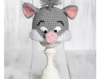 Newborn Mouse Hat, Newborn Animal Hat, Crochet Mouse Hat, Grey Mouse Hat, Crochet Animal Hat, Newborn Photo Prop, Baby Mouse