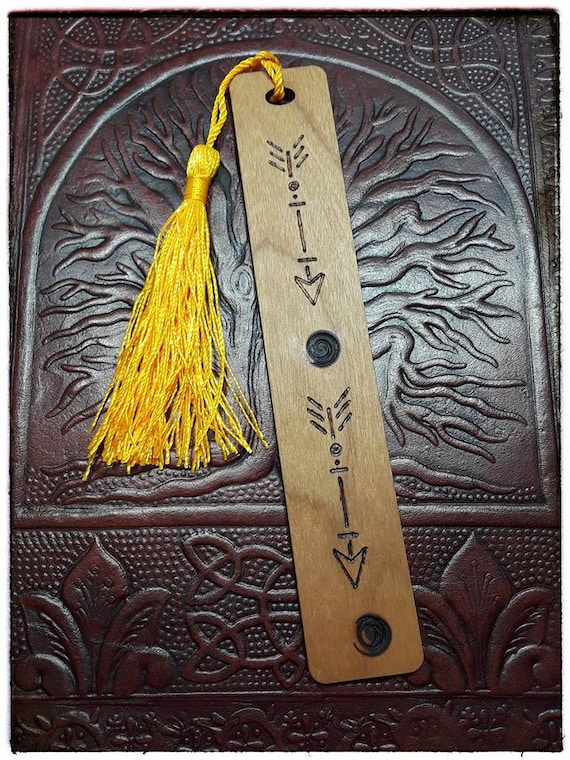 Arrows and Spirals Wooden Bookmark