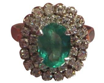 18k Gold Art Deco Emerald Ring Engagement Ring Art Deco Emerald Diamond Ring Vintage Emerald Ring Antique Emerald Ring Art Deco Engagement