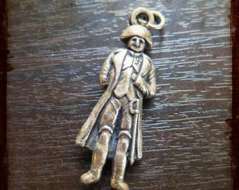 Antique French Miniature 3d Napoleon Bonaparte Medal Pendant - Vintage Jewelry charm from France