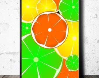 Citrus print colorful art print citrus art colorful kitchen print bright wall art large poster foodie gift summer art print woman gift art