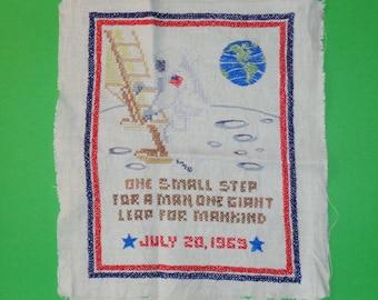 Moon Landing, Cross Stitch, July 20, 1969, Apollo, Moon Landing, NASA, Memorabilia, Space, Pilot,  Vintage