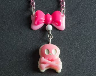 """60% OFF SALE Skull & Crossbones with Bow Pink and White Pirate Necklace 18"""" with Japanese Plastic Cabs on Pink Chain Cute Goth Loli Jewelry"""