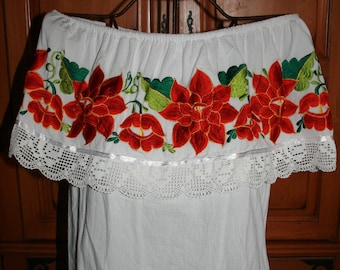Yucatan area Mexican Embroidery off Shoulder Peasant White Blouse Black Medium Large XLarge