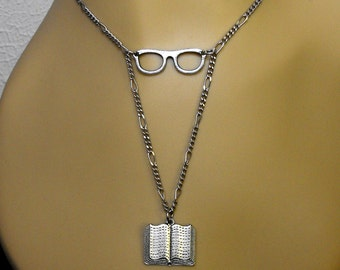 Glasses Book Necklace Reader Gift Bookish Literary Themed Bibliophile Jewelry