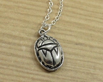 Scarab Necklace, Silver Egyptian Scarab Charm on a Silver Cable Chain