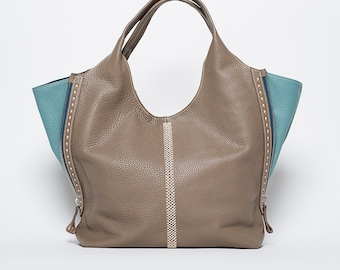 NEW/FALL COLLECTION/ Hand Bag Mexico full grain leather/  large size/  sand #73 and stone green /ethical