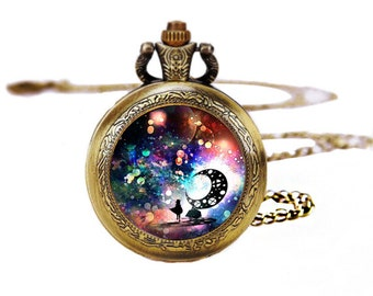 1pcs/ 35mm ,Fantasy Dream Glass pocket watch Necklace,Necklace Pendant,craft supply CA-04