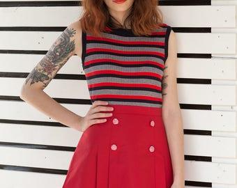 Deep red pleated skirt 1960s Mod mini scooter suedehead Custom made