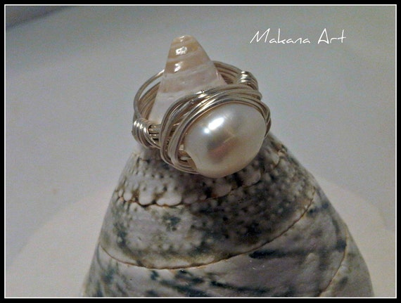 Natural Pearl Ring -  pearl - engagement - wedding - personalized - jewelry