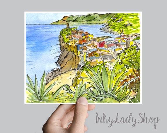 Italy print wall art. Italian landscape watercolor sketch.
