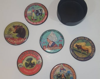 Vintage Camembert Cheese Label Coasters