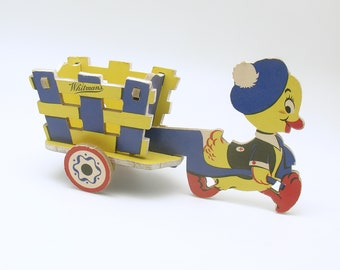 Vintage Easter Decoration Candy Container Duck with Wagon Rare