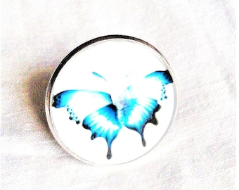 illustrated cabochon blue butterfly Ring