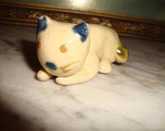 Clay Cat Figurine, Handmade