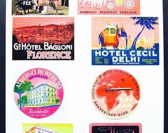 Vintage Luggage Label Images Paper, on Card Stock 8.5 X 11 Sheet P-3. NOT Digital