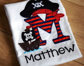 Pirate shirt, Personalised Pirate Themed Birthday, Pirate Birthday, Pirate Shirt, Pirate Costume, Embroidered, Pirate ship, First Birthday