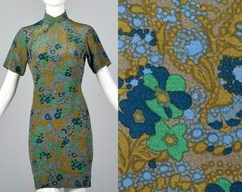 Small 1960s Floral Dress Short Sleeve Pencil Dress Mandarin Collar Lightweight Mini Skirt Spring Summer 60s Vintage