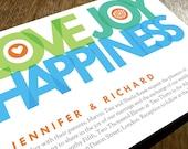 Printable Wedding Invitations - Love Joy Happiness - Big Typography Wedding Invitations - Instant Download - Blue, Teal & Green Invitations