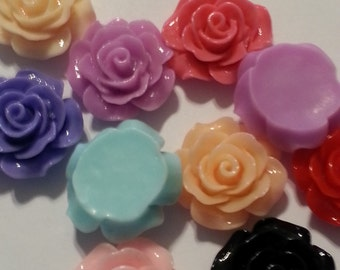 18mm Beautiful Rose Embellishment -resin, flatback - mixed colors - 5 pieces