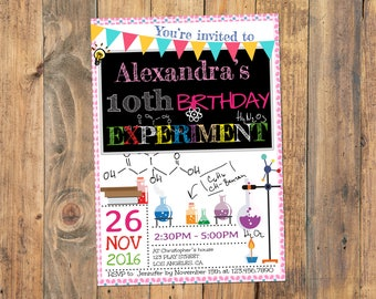 Science birthday party invitation, Science birthday invitation, Science party, Girl Science Invitation