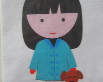 Stencil cutting - felt Silhouette of a girl and her bear