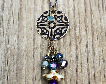 Vintaj Jewelry, Crystal Charm Necklace, Boho Jewelry, Hand Painted Jewelry, Statement Necklace, Long Necklace, Pendant Necklace