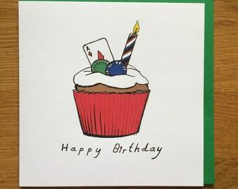 Birthday card, happy birthday card, cupcake, poker
