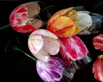 Perfect Gift!!! Hand Painted Tulip Wine Glasses with Painted Charming Bees and Lovely Lady Bugs- Set of 5 for the price of 4!!!