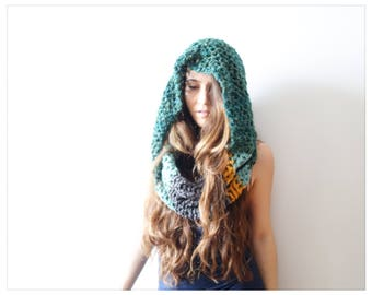 Winter in Style! Crochet Infinity Cowl, Mixed Material Wool, Slouchie Snood Scarf, Loop Twist Cowl The Islander
