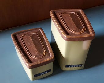 Vintage Coffee and Tea Tin Containers - Green Canister Set - Mid-Century Kitchen Canister Set for Retro Kitchen