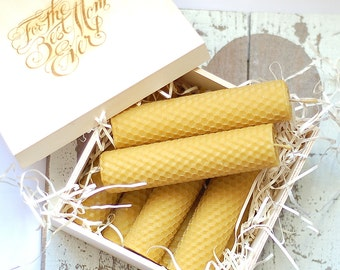 Set of 8 beeswax candles in personalized wooden box, natural Mother day gift, non toxic, relaxing, ecofriendly handmade pure beeswax candles