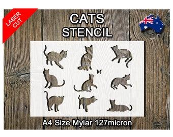 Stencils Crafts Templates Scrapbooking Cats Kittens Stencil - A4 Mylar