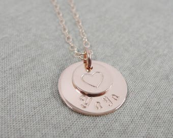 Grandmother Necklace, Grandma Necklace with Heart, Grandma Mother's Day Gift, Sterling Silver, 14K Gold Filled and Rose Gold Filled, Grammy