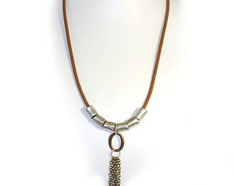 African copper leather and nickel metal necklace