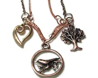 Copper Metalwork Necklace -And The Birds Sing. Nature Copper Necklace