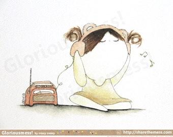 Whimsical Cute A5 Art Print - Little Girl CurlieQ in Bliss - Cute Children's Illustration