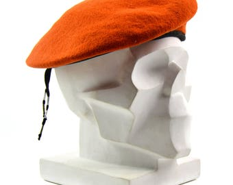 Genuine Czech army orange beret wool. Czech Military armed forces cap hat