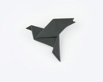PORCELAIN  BROOCH DOVE/Black porcelain/Porcelain origami/Origami pin/Origami brooch/Porcelain pin/Japaneese origami/Origami dove