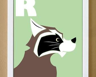 alphabet letter R, raccoon, custom colors, woodland art, children's letter art, letter print, 4X6, 5X7, 8x10