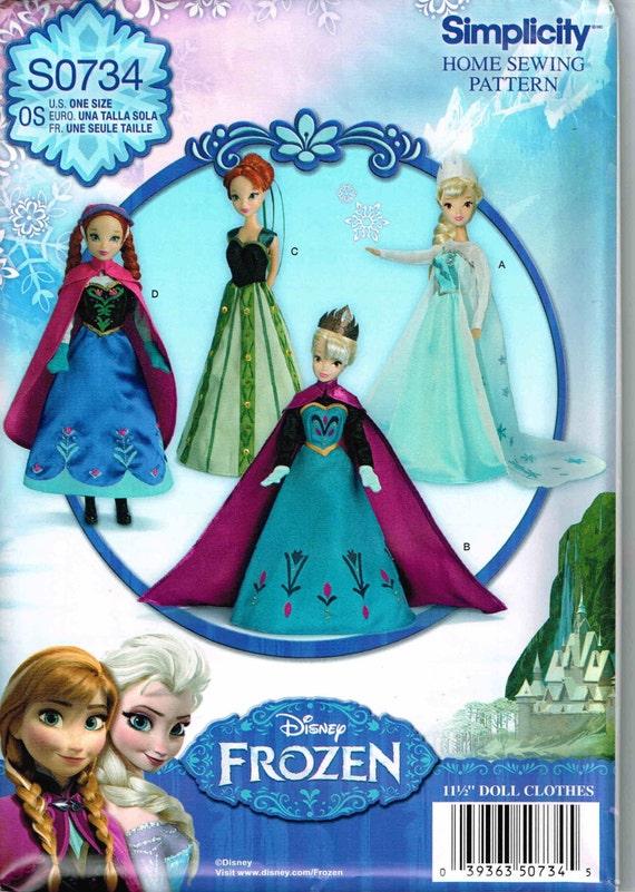 Puppe Kleidung Disney Nähen Muster 1234 gefrorene Elsa Anna