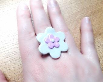 Grey and purple flower ring adjustable, designer jewelry, Adjustable ring