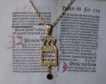 Necklace with 15th Century Incunabula Fragment,Latin Text,Printed in France