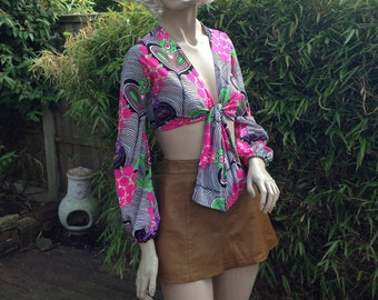 ORIGINAL 60s 70s hippie psychedelic tie front crop top with balloon sleeves XS S uk 6 8 10
